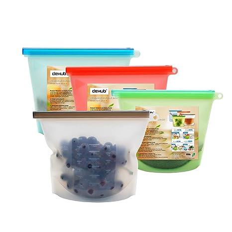 DeHub -Bolsas para Alimentos reciclables, Resistente a Fugas (4 x 1L)