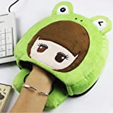 Shisay USB Heated Mouse Pad Plush Cartoon Character Mouse Hand Warmer Gloves with Wristguard Cotton Warm Heating Cushion Winter Home office Use
