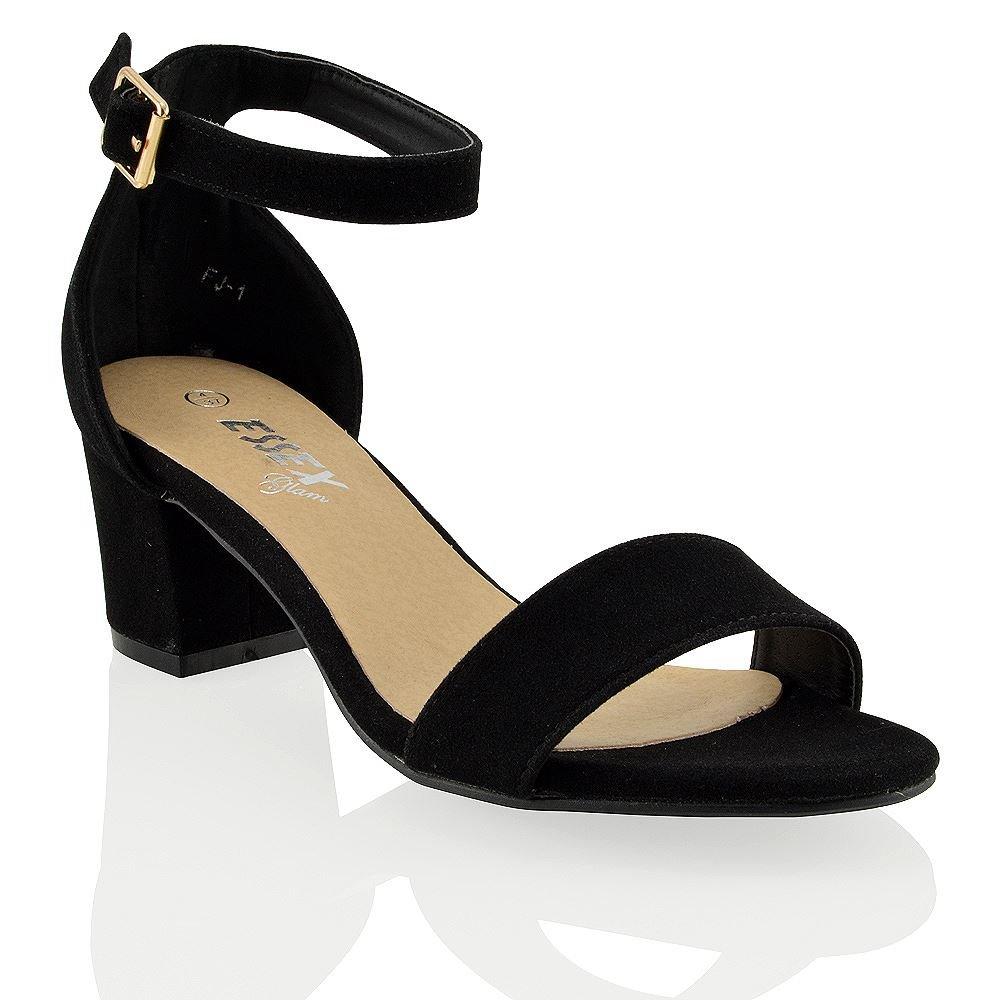 Essex Glam Sandalo Donna Sintetico Tacco Medio-Basso con Cinturino alla Caviglia Nero Ecopelle Scamosciata