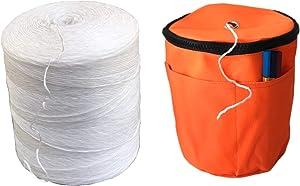 BlueFire Bundle: 6300 ft Polypropylene Tomato Twine + Reusable Twine Dispenser Bag for Garden Twine String (1 Roll Twine + 1 Orange Twine Bag)