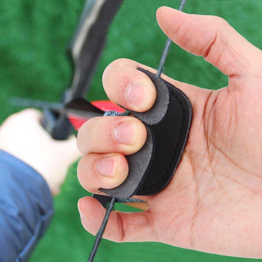 Alomejor Bogenschie/ßen Fingerschutz 3 Finger Leder Bogenschie/ßen Handschutz Schie/ßhandschuh f/ür Jagdschie/ßen Bogenschie/ßen