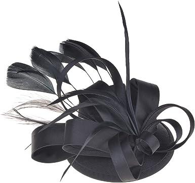 ChezAbbey Womens Flower Feather Mesh Net Veil Fascinators Hat for Cocktail Derby Wedding Tea Party