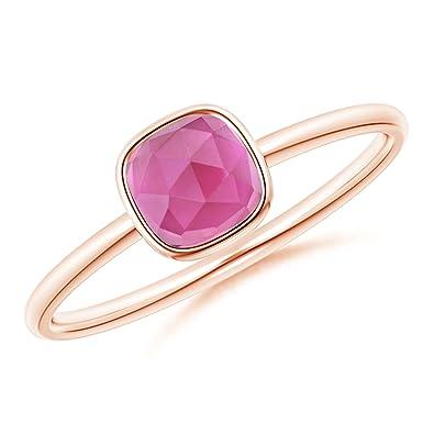 Angara Bezel-Set Cushion Pink Tourmaline Solitaire Ring ouCad0aw