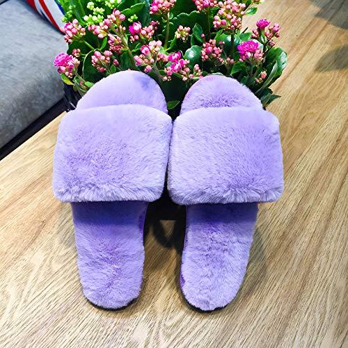 Violet Peluche En Mot Pantoufles Femme Plate Noble Un Maison Shoe Qsy ZFqgzwF