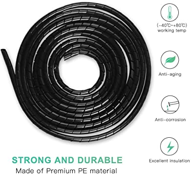 3-10MM BLACK CABLE WIRE BINDING TIDY SPIRAL WRAP HIDE 4x 10METRE