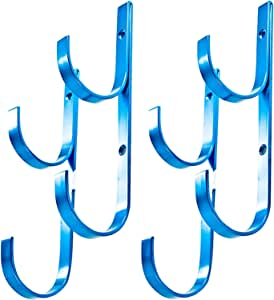 WWD Pool Swimming Pool Aluminum Pole Hanger Set, Blue, 2-Pack (4 Hooks), for Telescoping Poles, Leaf Rakes, Skimmers, Nets, Brushes, Vacuum Hoses (2pk)