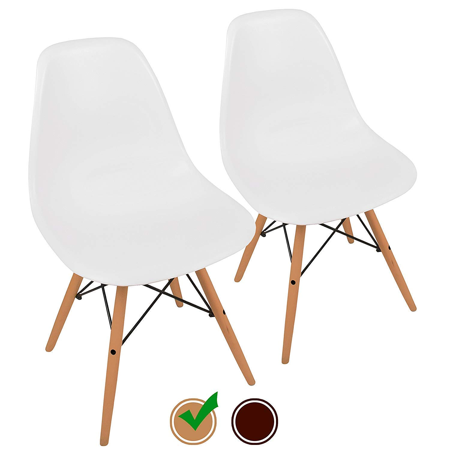 UrbanMod Mid Century Style Easy Assemble' Modern DSW ErgoFlex ABS Plastic and 'One Wipe Wonder' Cleaning Comfortable White Dining Chairs Meets 5-Star, 2, Natural Legs by UrbanMod