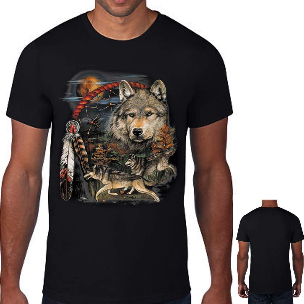 Native American Indian Dream Catcher Wolf Moon Animal Spirit T-Shirt Tee