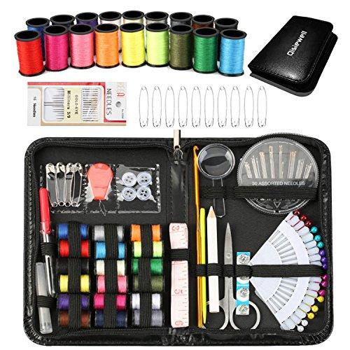 Qisiewell 裁縫セット プロ高級ソーイングセットポータブルミシンアクセサリー 携帯式コンパクト付き ブラック