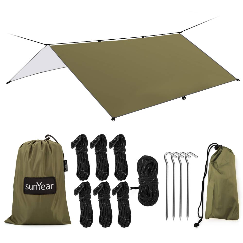 Hammock Rain Fly Tent Tarp Provides Effective Protection Against Rain, Snow. 32ft Long Ridgeline. Big 9.8x9.5ft Durable, Waterproof 210D Oxford. 6 Reflective Guy Lines, 2 Stuff Sacks. Easy Assembly by Sunyear