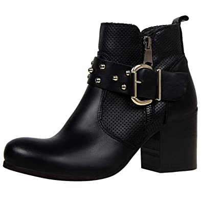 Womens Office Amelie Buckle Strap Western Boots BLACK SUEDE Boots