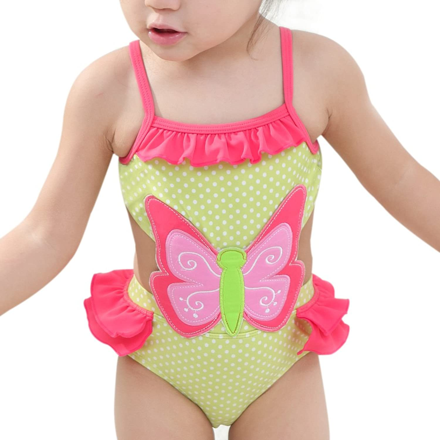Saidi Girls One Piece Swimsuit Hollow-Out Butterfly Swimwear Yellow Pink (S8)