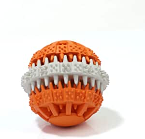 Non-Toxic Dog Teeth Cleaning Chew Ball and IQ Puzzle Treat Dispensing Toy; for Strong Chewers and Interactive Meal and Play Time (Orange)