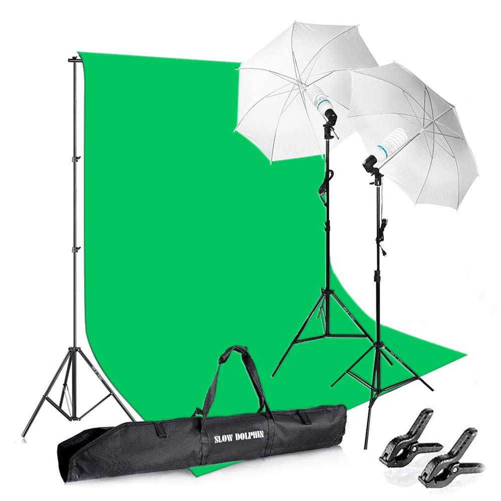 Slow Dolphin Photography Background Stand Support System with Muslin Backdrop (Chromakey Green Screen kit),1050W 5500K Daylight Continuous Umbrella Lighting Kit for Photo Studio Product, Portrait by SLOW DOLPHIN