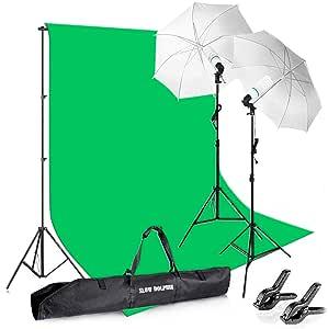 Kaezi CH15-1012G vs-1 StudioFX 800W Chromakey Green Screen 10ft x 12ft Backdrop Photography Video Lighting Kit Background Support System Included