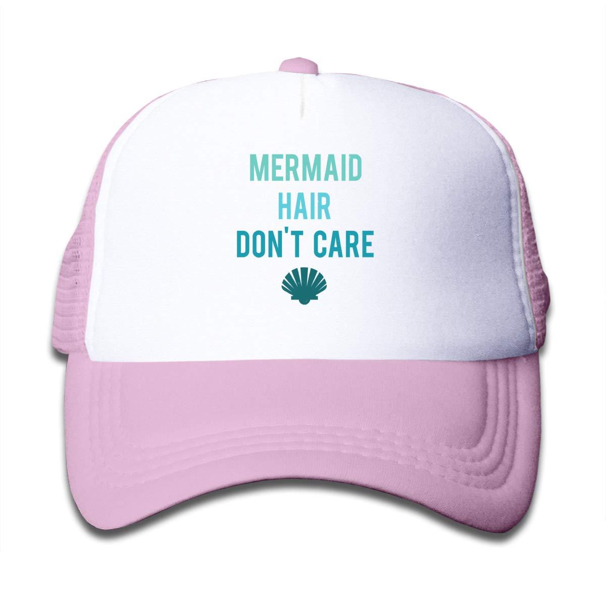 Mermaid Hair Don't Care Sunscreen Mesh Back Cap Trucker Baseball Hat for Girls Pink
