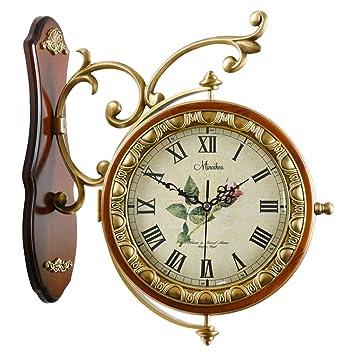 Relojes de pared Relojes Silencio Doble Cara Europeo Antiguo Madera Maciza Doble Cara Moda Creativa Sala De Estar Grande Reloj De Cuarzo Mudo despertadores: ...