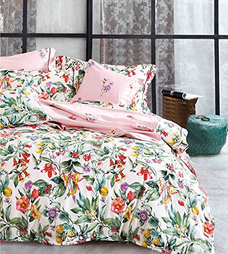 Cottage Country Style 3 Piece Duvet Cover Set Multicolored Roses Peonies Bouquet 100-percent Cotton Shabby Chic Reversible Floral Bedding (King, Mulicolor)