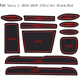 11Pcs Replacement for Toyota Yaris 2016-2018 Car Interior Cup Mat Door Gate Slot Pad Storage Box Stickers