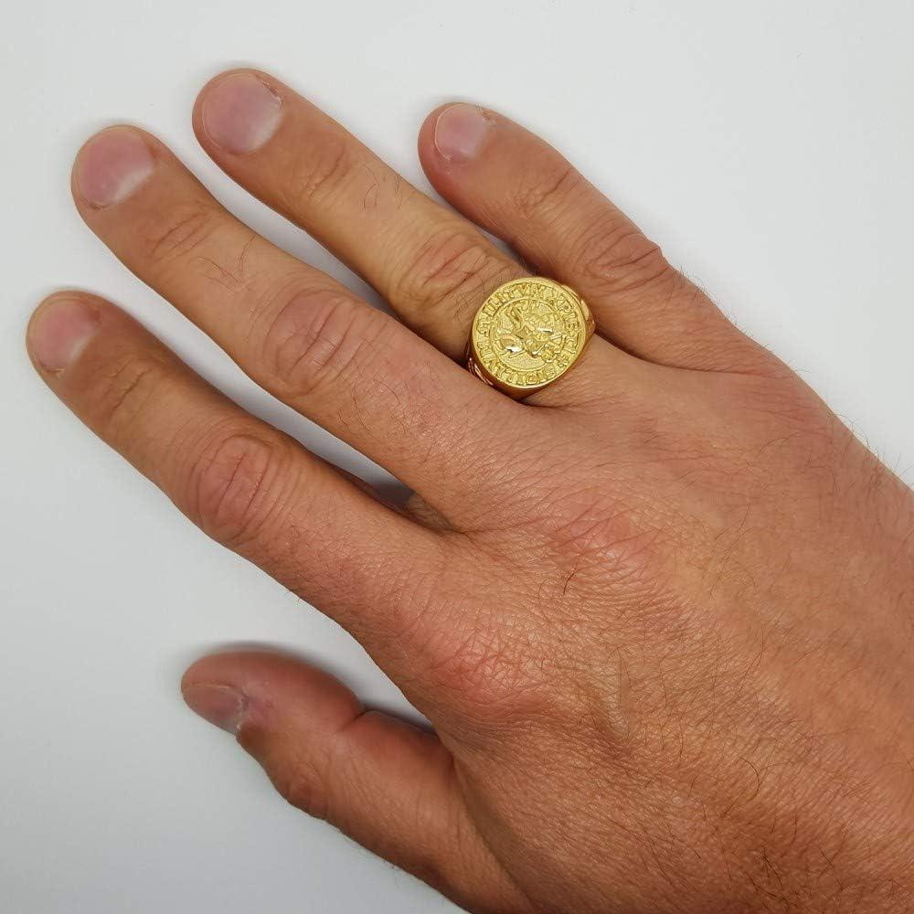BOBIJOO Jewelry Bague Chevali/ère Sceau Templier Christ Croix Sigillum Militum Xpisti Acier Or Dor/é Plaqu/é