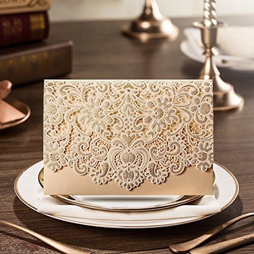 Wishmade 100X Gold Laser Cut Wedding Invitations Cards Kit With Envelopes  and Seals Provide Personalized PrintingPersonalized Wedding Invitations  Amazon com. Personalized Wedding Cards. Home Design Ideas