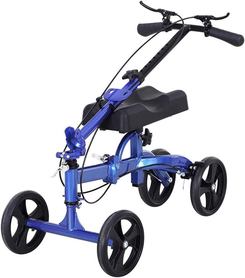 ZBYL 4 Ruedas Rodilla Scooter Andadores con Almohadilla Ortopédica del Asiento, Sistema De Frenos Y Cesta, por Lesiones En La Pierna Rota, Ayuda A Caminar Discapacitado Alternativa De Muletas - Azul