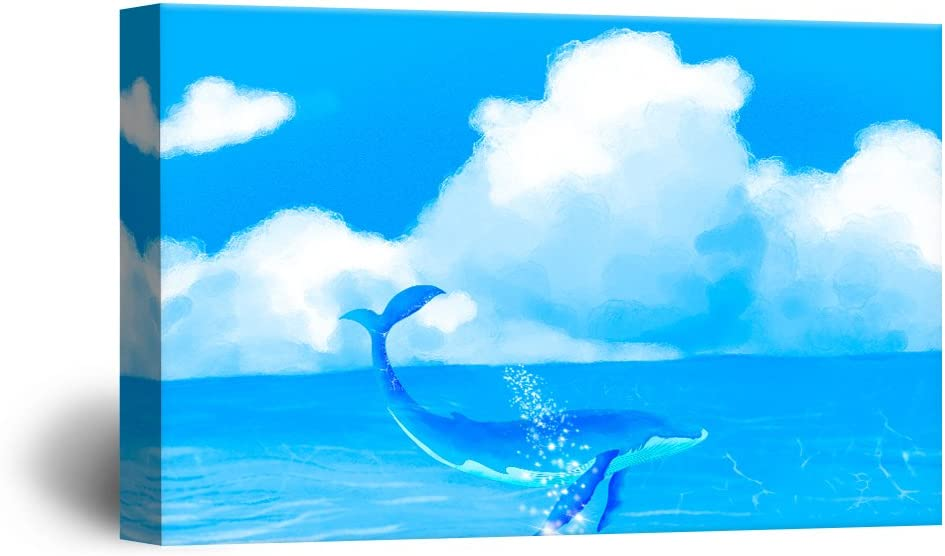 Delightful Style, Premium Product, Hand Drawing Style Blue Whale Swimming in The Ocean