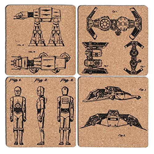 star war coasters set of six 4x4Inch, star war fans gifts drink coaster