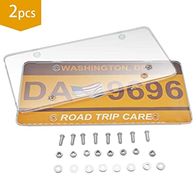Smile Turtle Car License Plates Shields 2 Pack Clear Flat Design Novelty Plate Covers to Fit Any Standard US Plates, Unbreakable Frame Covers to Protect Front, Back License Plates, Screws Included: Automotive