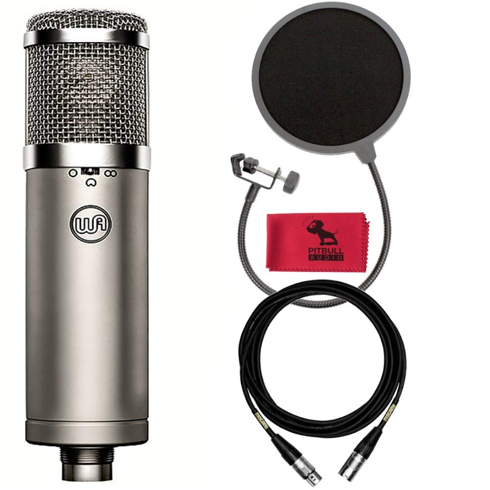 Warm Audio WA-47jr FET Condenser Microphone with 15' Mogami XLR Cable, Pop Filter, Pitbull Audio Dust Cloth
