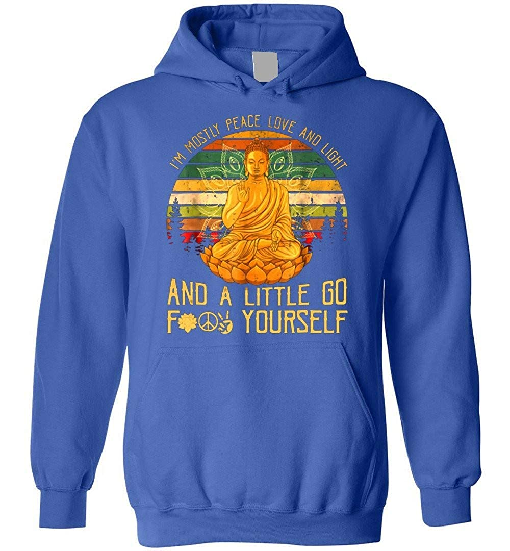 Buddha Yoga Im Mostly Peace Love And Light A Little Go Yoga Shirts