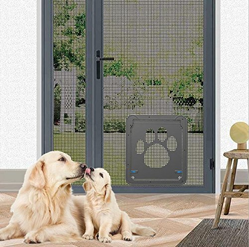 "ABC Pet Product Namsan Dog Door Screen Door, Pet Screen Door,Automatic Lock/Lockable,Black (large 12"" X 14"")"