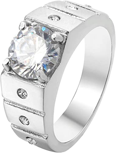Bishilin Silver Plated Women Promise Band Wedding Rings Round Cut Cubic Zirconia Inlaid Size 6