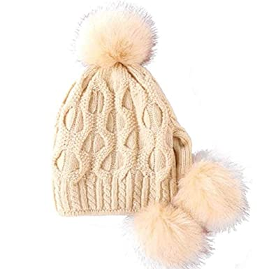a618c79245b UMIPUBO Women Knitted Hat Winter Warm Beanie Hat with Pom Pom Bobble Hat  Style with Windproof Ear Flaps (Beige)(Size  One Size)  Amazon.co.uk   Clothing