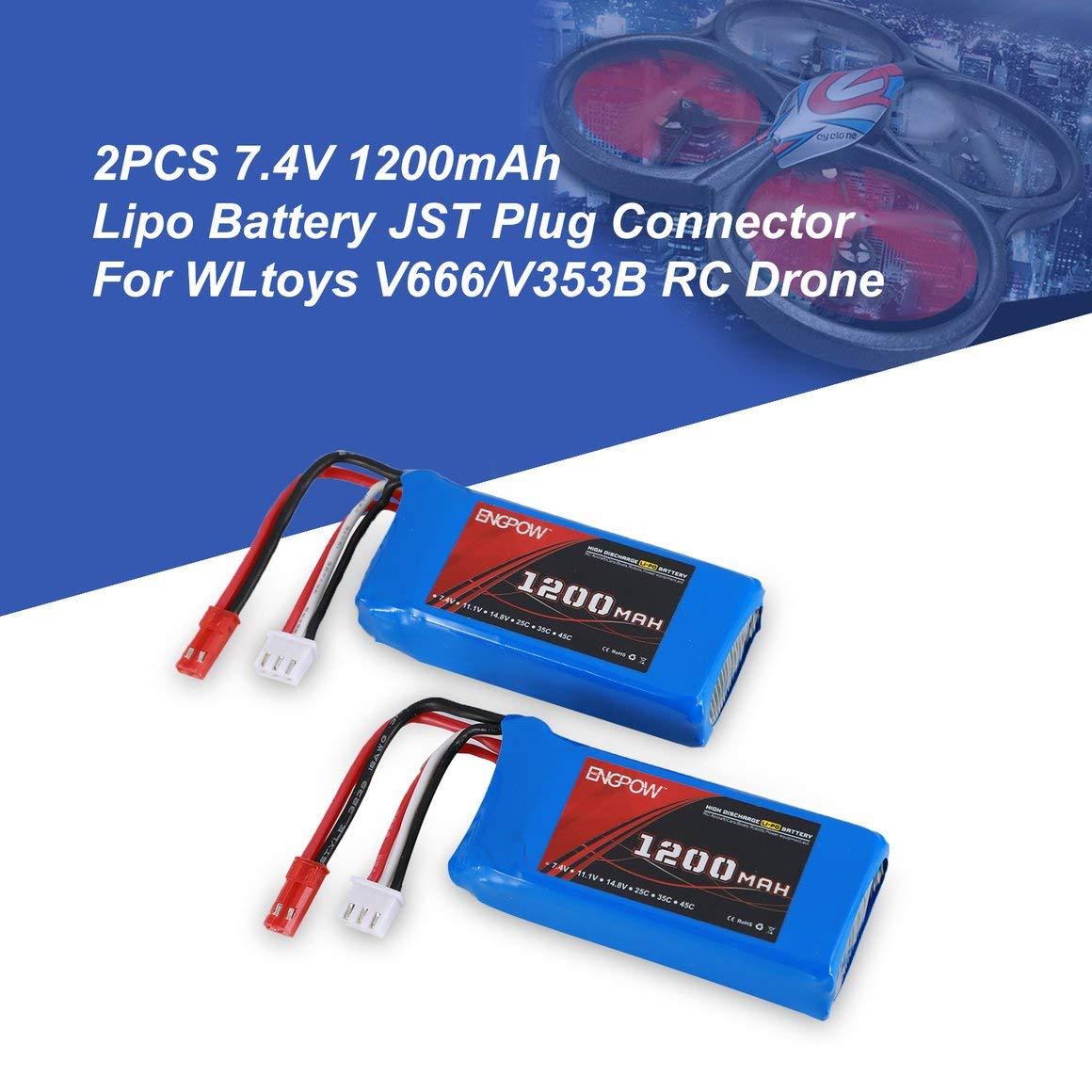 Funnyrunstore 2PCS Engpow 7.4V 1200mAh 2S Batería Lipo Recargable ...