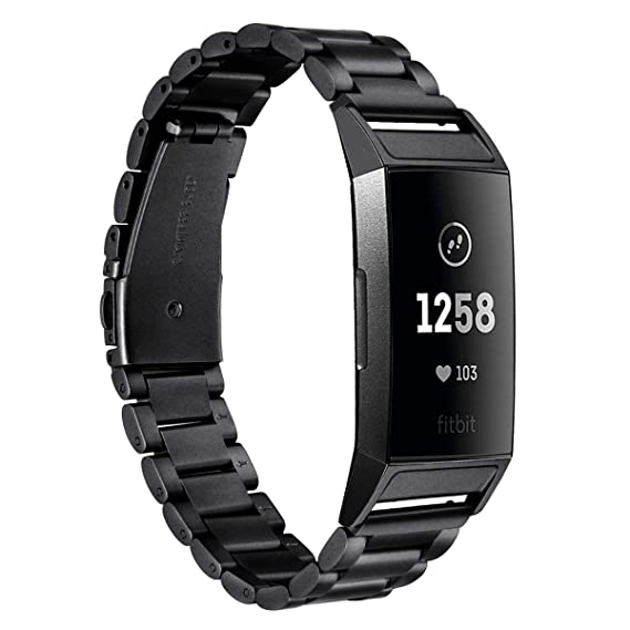 V-MORO Band for Fitbit Charge 3 Bands Metal,Solid Stainless Steel Fitbit  Charge3 Wristband Business Replacement Bracelet Strap for Fitbit Charge 3 /
