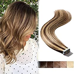 Brown & Blonde Highlight Tape In Human Hair Extensions Long Straight Seamless Skin Weft Hair Invisible Double Sided Tape 20pcs 30g+10pcs Extra Tapes (Medium Brown mixed Dark Blonde #4-27 20inch)