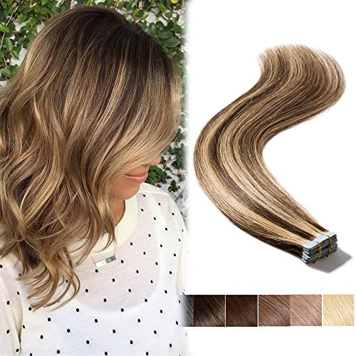 16inch Brown&Blonde Highlight Tape In Human Hair Extensions Long Straight Seamless Skin Weft Hair Invisible Double Sided Tape 20pcs 30g+10pcs Extra Tapes (Medium Brown mixed Dark Blonde #4-27)