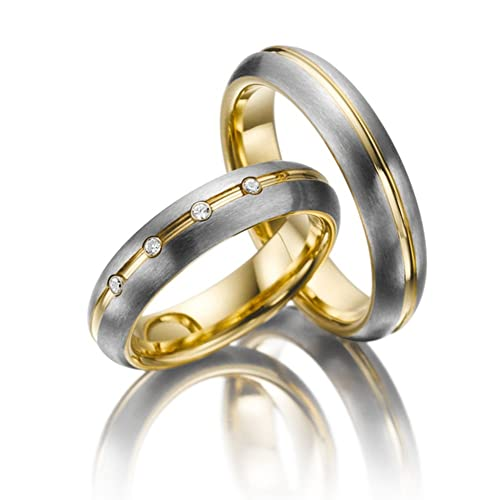 Elegante 14 K Blanco y Amarillo Oro His and Hers boda anillos 06 ct 5 mm