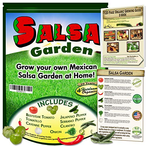 Mexican Salsa Garden Seeds Collection-Flavors of Mexico in Your Back Yard - Windowsill, Tomato, Tomatillo, Jalapeno, Serrano, Cayenne Pepper, Cilantro, Onion Free Online Grow Guide