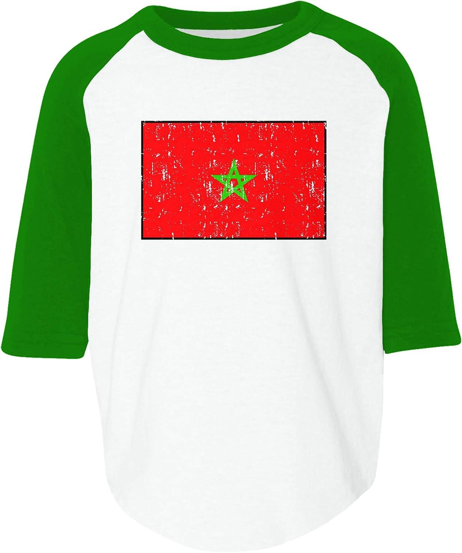 Amdesco Flag of Morocco Moroccan Toddler Raglan Shirt