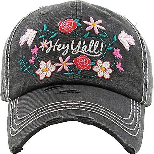 Ladies Ball Cap - Women's Floral Hey Y'all Southern Vintage Baseball Hat Cap (Black)