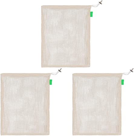 Donna Sweet - Bolsa de Malla Reutilizable de algodón Natural orgánico para Verduras, Bolsa de la Compra Verde, n/a, Beige, 15 * 20 CM: Amazon.es: Hogar