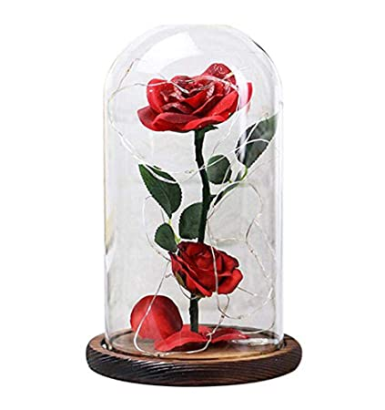 Amazon Homom Artificial Flowers Red Silk Rose And Led Light