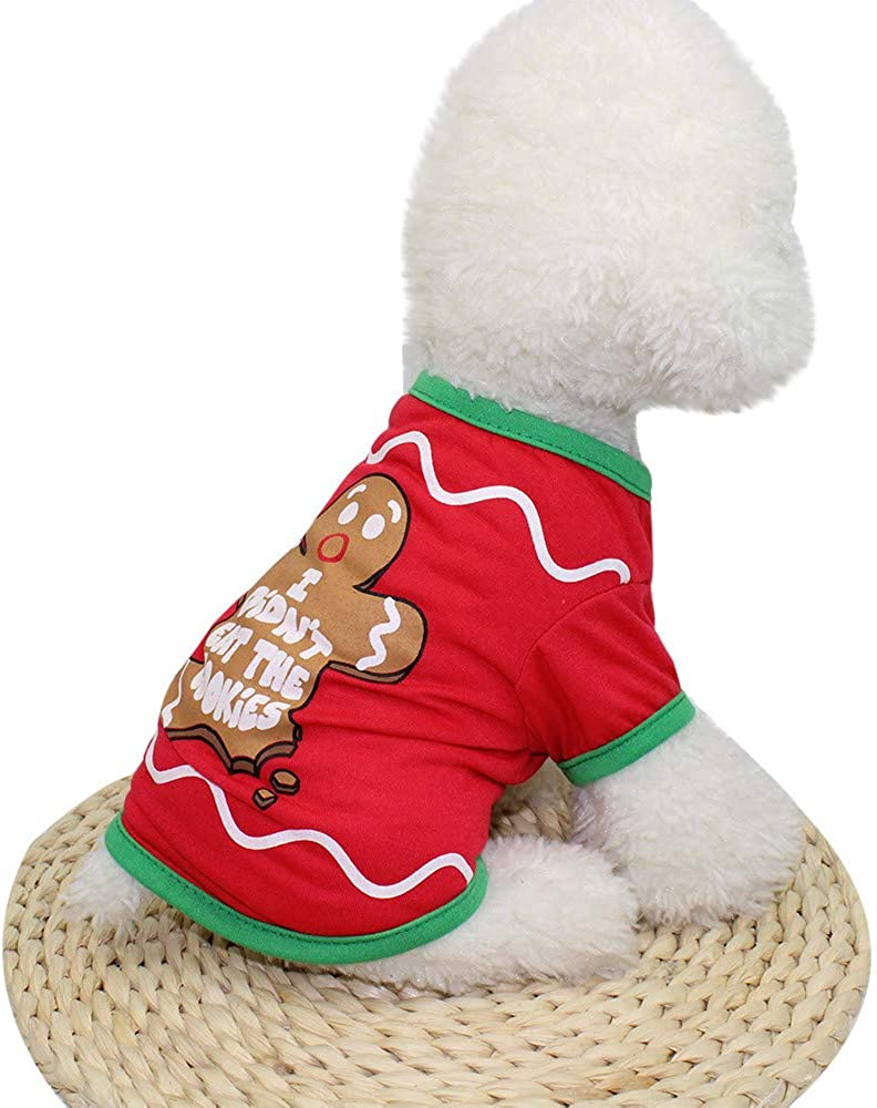 Culater/® 2018 Unisex Natale Cartone Animato Maglioni t-Shirt Cosplay Cani Vacanza Abbigliamento Animale Progettato per Cani di Piccola Taglia M, Rooso
