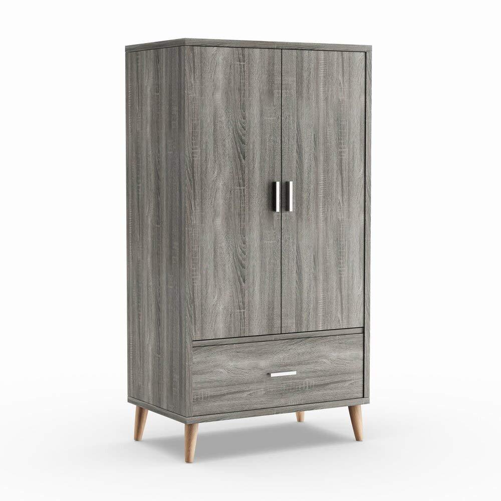 Carson Carrington Mid-Century Modern Distressed Grey Wardrobe Armoire by Carson Carrington