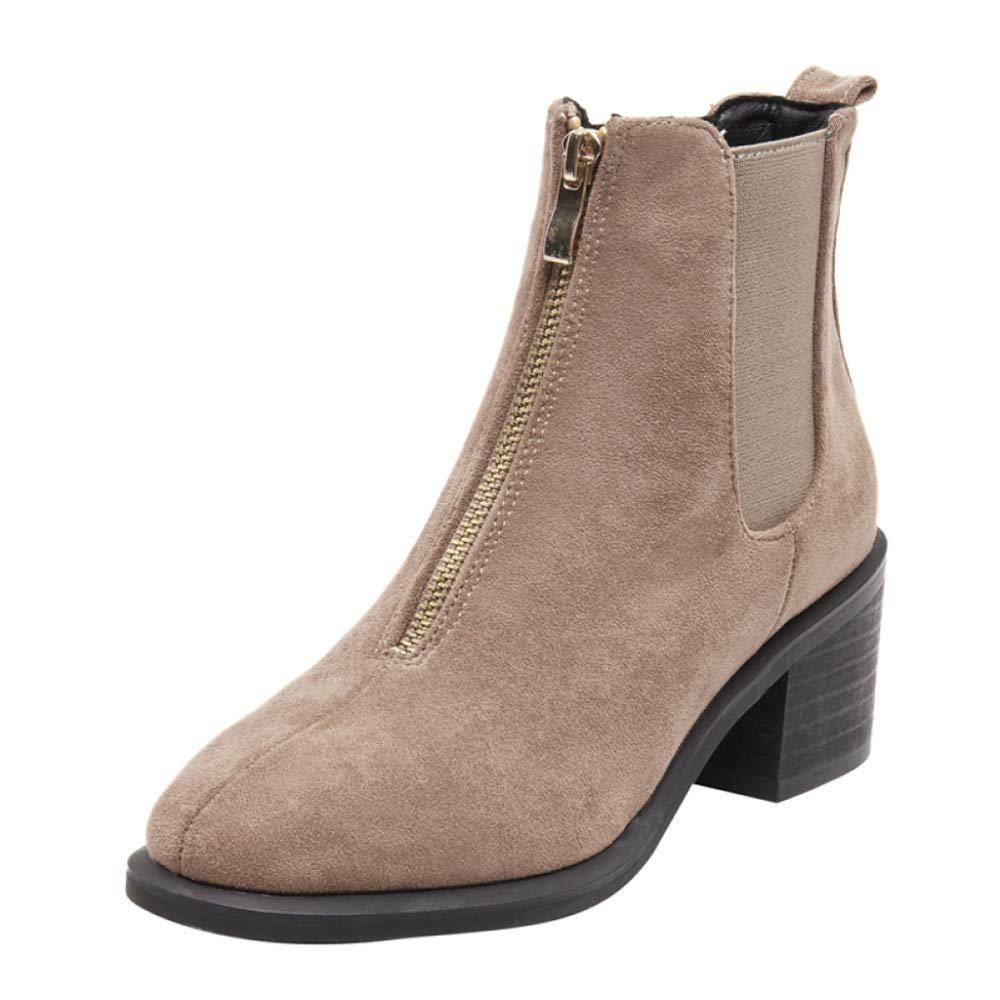 RegbKing Chelsea Schuhe Stiefeletten Damen Winter Schnee Stiefel Wildleder Pelz Gefüttert Warme Stiefel Reißverschluss Hohe Chelsea Schuhe