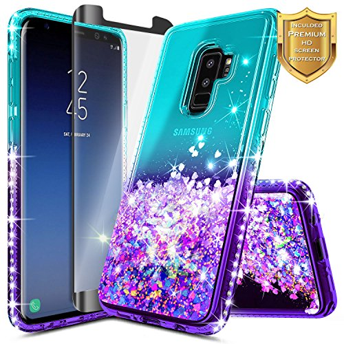 Galaxy S9 Plus Case w/[Full Cover Screen Protector Premium Clear], NageBee Glitter Liquid Quicksand Waterfall Flowing Sparkle Bling Diamond Cute Case Designed for Samsung Galaxy S9 Plus -Aqua/Purple