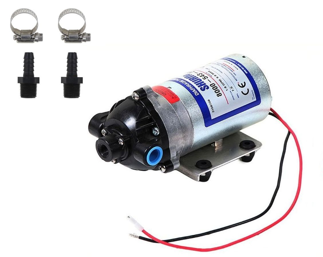 Shurflo 8000-543-290 Bypass 12V Diaphragm Pump with Male 3/8'' Hose Barb Kit (Bundle, 2 Items)