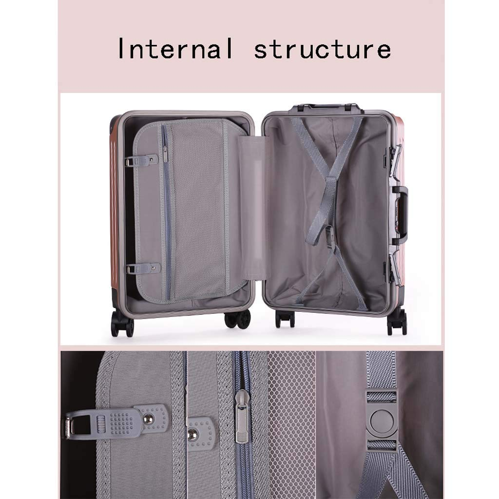 Male and Female Lightweight ABS Portable Consignment Suitcase Trolley Case Lock 4 Wheels CLOUD Luggage Sets Travel Suitcase Color : Silver, Size : 26 inches